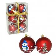 Novogodišnje ukrasne kugle 8 cm 6 kom crvene 51-423000