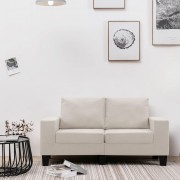 vidaXL 2-местен диван, кремав, текстил