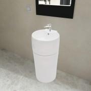 vidaXL Керамична мивка на стойка, преливник, отвор за смесител, бяла, кръгла