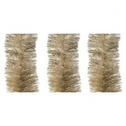 Bellatio Decorations 3x Licht parel/champagne kerstslingers 10 cm breed x 270 cm