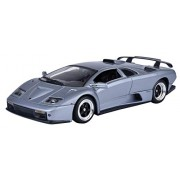 Motormax 1:18 Lamborghini Diablo GT Diecast Car Mounted On A Plastic Stand and with the Name Lable (Metallic Gray)