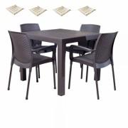 Set exterior gradina Maitas masa patrata Classi Ratan 90x90x75cm 4 scaune Sunny Rattan 4 perne scaun, Hascevher, B004252-42300-42327, culoare cafea