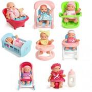 "Rose International Assorted 5"" Mini Dolls, High Chair, Stroller, Crib, Car Seat, Bath, Potty, Swing Set of 8 Accessories for Baby Kids"