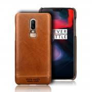 PIERRE CARDIN for OnePlus 6 Horizontal Stitched Genuine Leather Coated PC Phone Case - Brown