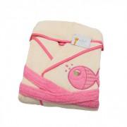 Halat de baie copii 2-4 ani Valentini Bianco Crem cu margine roz