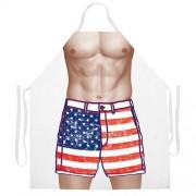 Attitude Aprons Attitude Delantal ajustable con diseño de bandera americana, color blanco