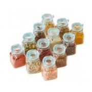Set 12 borcanele etanse din sticla pentru depozitare de 70 ml, Garnitura fara BPA,albastre AJ001180