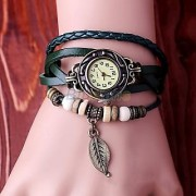 new Green Leather Strap Watch Hand-knitted Leather watch women' watches