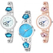 Varni Retail Hart Print Dial Silver And RoseGold Watch Sky Blue Dial Silver Chain 3 Combo Watch For Girls(Round Dial)