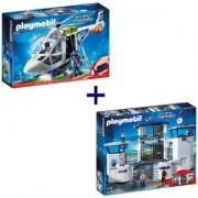 Комплект Плеймобил 6872 Полицейски команден център със затвор + Комплект Плеймобил 6921 Полицейски хеликоптер
