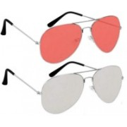 shah collections Aviator Sunglasses(Silver, Pink)