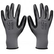 vidaXL Mănuși lucru din nitril, 24 perechi, mărime 10/XL, gri și negru