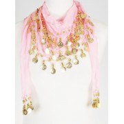 Driehoekige muntjes sjaal in roze met gouden muntfranje