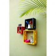 Onlineshoppee Square Nesting MDF Wall Shelf Size(LxBxH-10x4x10) Inch - Red -Black Yellow