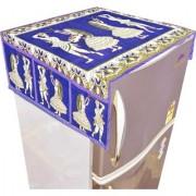 Nisol Rajasthani Dancers Kalamkari Royal Blue Refrigerator / Fridge Top Cover (Universal Size)