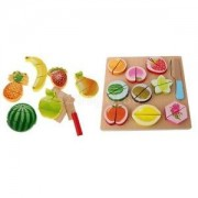Alcoa Prime 19Pcs Kids Preschool Wooden Fruits Cutting Set Kitchen Wooden Food Fruit Toy