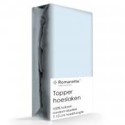 Topper Hoeslaken Katoen Romanette Blauw-160 x 200 cm