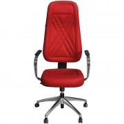 Cadeira Presidente Luxo Vermelha com Estrela e Braços Cromados - Pethiflex
