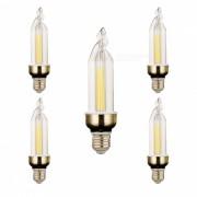 Lamparas blancas frias de la luz blanca del ywxlight E27 4W 2-LED - blanco + naranja (5PCS)