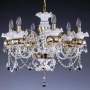 Candelabru cristal Bohemia 6 brate, diam. 66cm Esmeralda VI.white CE