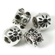 FancyStyle Perlen-Set, schwarz-silber, 4 Stück