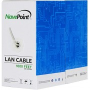 NavePoint Cat6 (CCA), 1000ft, Grey, Solid Bulk Ethernet Cable, 550MHz, 23AWG 4 Pair, Unshielded Twisted Pair (UTP)