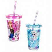 Disney Store Frozen Anna & Elsa Glitter Sparkle Cups Tumbler W/straw Set of 2