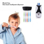 ROYALDEALSHOP MADE OF HIGH QUALITY Plastic Automatic Toothpaste Dispenser and 5 Toothbrush Holder