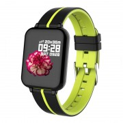 B57 1.3-inch IPS Color Screen Waterproof Health Monitoring Fitness Tracker Smart Watch with Dual Color Strap - Black/Green