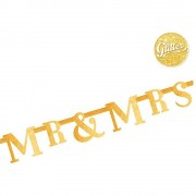 Banner decorativ sclipici Mr & Mrs pentru nunta - 1.3 m, Radar 54473