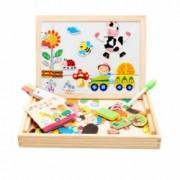 Joc multifunctional educativ din lemn cu tablita magnetica cu doua fete si puzzle magnetic varsta 3 ani+ 60 de piese mul