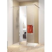 Schulte Home Paroi de douche fixe à l'italienne Walk In avec 3 parois, Concept PRO, 120 cm, verre transparent + miroir, anticalcaire, version gauche