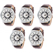 Jack Klein Pack of 5 Round Dial Brown Strap Stylish Analogue Wrist Watches