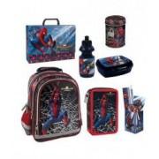 Set Scoala Spiderman 2 - Ghiozdan Penar Neechipat Pusculita Mapa cu maner Suport Instrumente De Scris Echipat