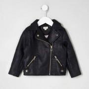 River Island Mini girls Black faux leather biker jacket