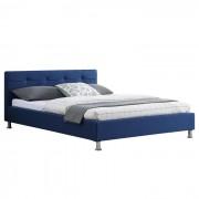 IDIMEX Lit double NIZZA, 140 x 190 cm, capitonné avec sommier, revêtement en tissu bleu