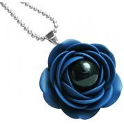 Troli Colier albastru cu flori de perle negre