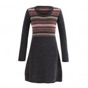 Jacquard jurk, antraciet-motief 36/38