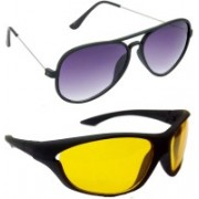 Hrinkar Aviator Sunglasses(Grey, Yellow)