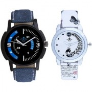 Awesome Blue Sport Dial And White Peacock Feathers Couple Casual Analogue Wrist Watch By Taj Avenue