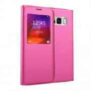 For Samsung Galaxy S8 Litchi Texture Horizontal Flip Leather Case with Call Display ID (Magenta)