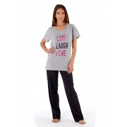 Pijama dama Laugh Grey, din bumbac