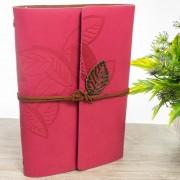 Agenda lata din piele ecologica roz cu frunzulite