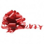 A pack of 4 x RED 30 mm SATIN PULL BOW
