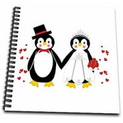 3dRose db_164801_2 Cute Red Hearts Penguin Bride and Groom Wedding Couple Memory Book 12 by 12