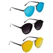 TheWhoop Round Sunglasses(Black, Blue, Orange)