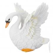 Geen Flapperende witte zwaan beeldje 13 cm