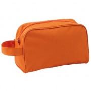 Geen Handbagage toilettas oranje met handvat 21,5 cm voor heren/dames