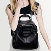 Multifunctionele zachte oppervlak PU dubbele schouders tas dames handtas messengertas (zwart)