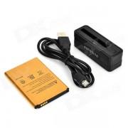 SUNSHINE Mini Bateria de carga del muelle + 3.8V 3000mAh Li-ion Battery + Cable para LG G3 - Negro + Oro